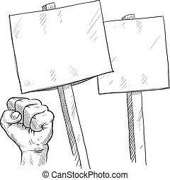 protesto, em branco, esboço, sinais