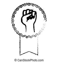 protesto, emblema, imagem, fita, ícone
