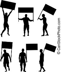 protesto, pessoas, torcida, silhouette.