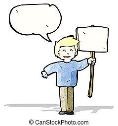 protestor, 政治的である, 漫画, 印