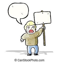 protestor, politique, dessin animé, signe