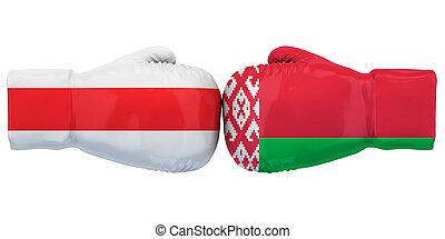 protests, belarusian, interpretación, 3d, demostraciones, concept., político