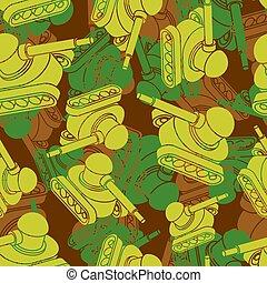 protetor, cáqui, tanque, exército, seamless., padrão, ornament., camuflagem, guerra, máquina, experiência., vetorial, marcial, militar, texture.