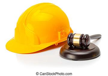 protetor, capacete, com, madeira, juiz, gavel, perto, aquilo