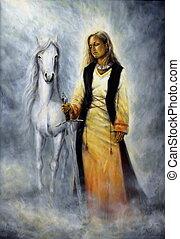 protetor, cavalo, lado, companheiro, dela, branca
