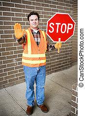 protetor cruzamento, em, escola