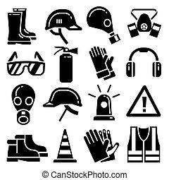 protetor, jogo, ícones, pessoal, equipamento, vetorial