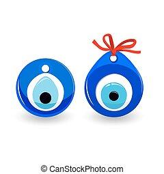 protetor, olho, isolado, Mal, amuleto,  talisman