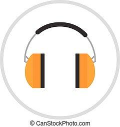 protetor, orelha, muffs, isolado, ligado, um, branca,...
