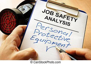 protetor, pessoal, escrita, equipamento, (ppe), palavras,...