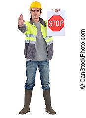 protetor tráfego, trânsito direto