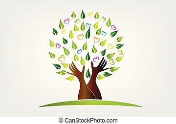 protettivo, simbolo, albero, mani, logotipo, icona