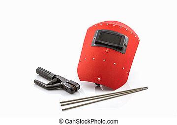 protettivo, wir, saldatura, elettrodi, rod-holder, schermo, rosso