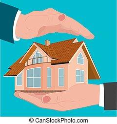 protezione, assicurazione, casa, mani