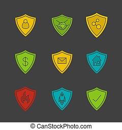 protezione, colorare, glyph, icona, schermi, set