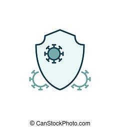 protezione, concetto, icona, antibatterico, vettore, colorito