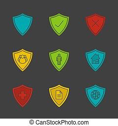 protezione, glyph, icona, schermi, colorare, set