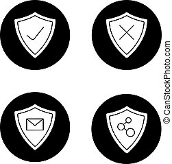 protezione, glyph, schermi, icone, set