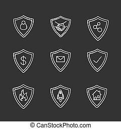 protezione, icone, gesso, schermi, set