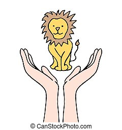 protezione, leone, messo pericolo