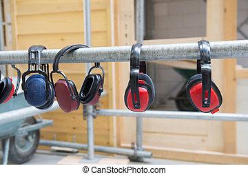 protezione orecchio, per, rumore