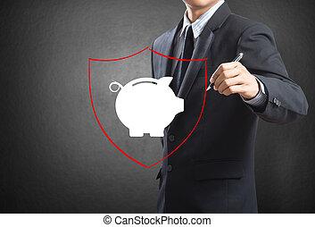 protezione, scudo, banca, piggy