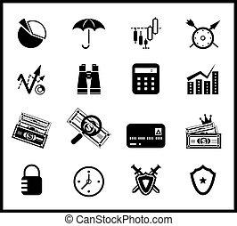 protezione, set, finanza, icona