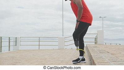 prothétique, homme, côté, jambe, séance, vue, marche