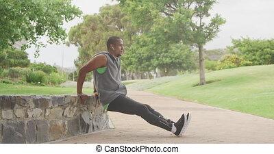 prothétique, homme, côté, jambe, vue, étirage