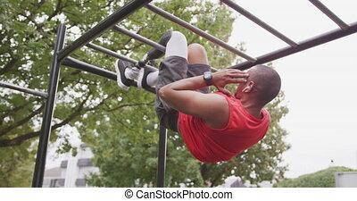 prothétique, homme, côté, jambe, vue, abs, suspendu, air