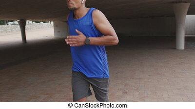 prothétique, homme, côté, jambe, vue, courant