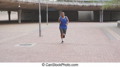 prothétique, homme, jambe, vue, courant, devant