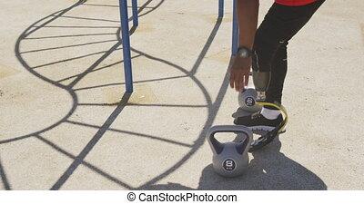 prothétique, s'exercer homme, côté, jambe, vue