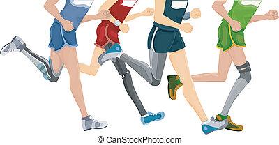 prothetisches bein, rennender