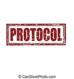 Protocol-stamp - Grunge rubber stamp with word...