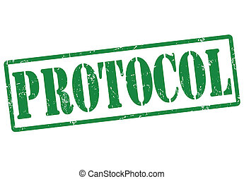 Protocol grunge rubber stamp on white, vector illustration