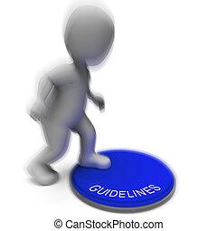 protocollo, regole, linee direttrici, premuto, politica,...