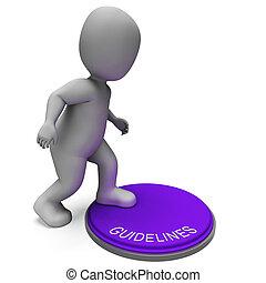 protocolo, Regras, botão, Diretrizes, política, mostra