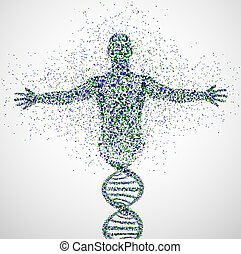 Prototype of man - Abstract model of man of DNA molecule. ...
