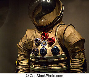 Prototype space suit from the early 1960s. This suit was never worn in space, but is on display at the Kennedy Space Center Apollo - Saturn V Center in Florida.