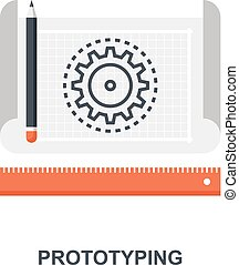 Prototyping icon concept - Vector illustration of...