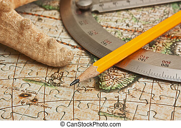 protractor and pencil