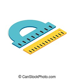 Protractor and ruler icon, isometric 3d style