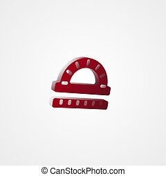 Protractor Ruler Red 3d  illustration