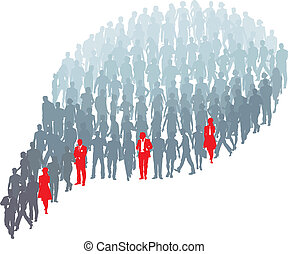 Protrude persons in group bubble