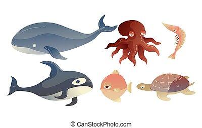 protuberant, occhi, vettore, set, creature, carino, mare