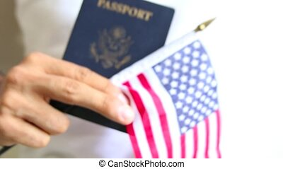 Proud american. US passport and flag. Passport check