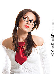 Proud attractive woman in glasses