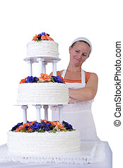 Proud Baker Lady Checking her Ruffled Wedding Cake
