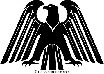 Proud black eagle silhouette for heraldry design with raised...